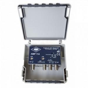 AMP114 Amplificador 3 entradas VHF+DAB 24dB, UHF 33dB, SAT mezcla