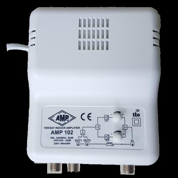 AMP102 Amplificador interior SAT+TV terrestre 1 entrada 2S