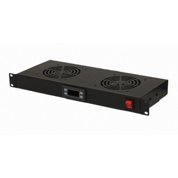 "AMP632 Conjunto 2 ventiladores rack 19"" termostato on/off"