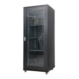AMP605  32U 19-inch Floor Mount Rack. Measures: 1610x600x600 mm, front glass door and 2 fans