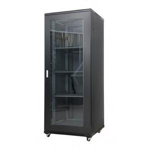AMP606 32U 19-inch Floor Mount Rack. Measures: 1610x600x800 mm, front glass door and 2 fans