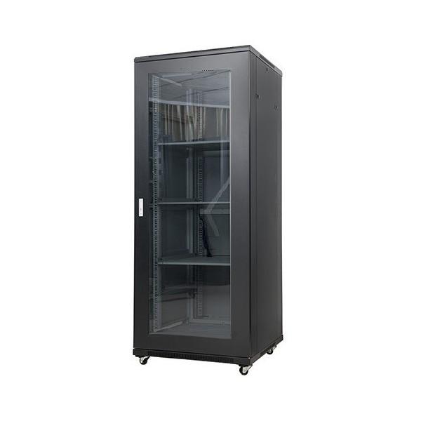 """AMP608 Rack de suelo 19"""" 42U 2050x600x800mm con puerta de cristal y 4 ventiladores"""