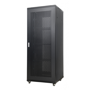 AMP611 42U 19-inch Server Cabinet. Measures: 42Ux800x1000mm with two cable management, grille door and 4 fans