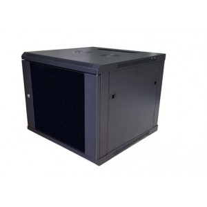 AMP602 9U 19-inch Wall Mount Rack. Measures: 500x600x600 mm with glass door