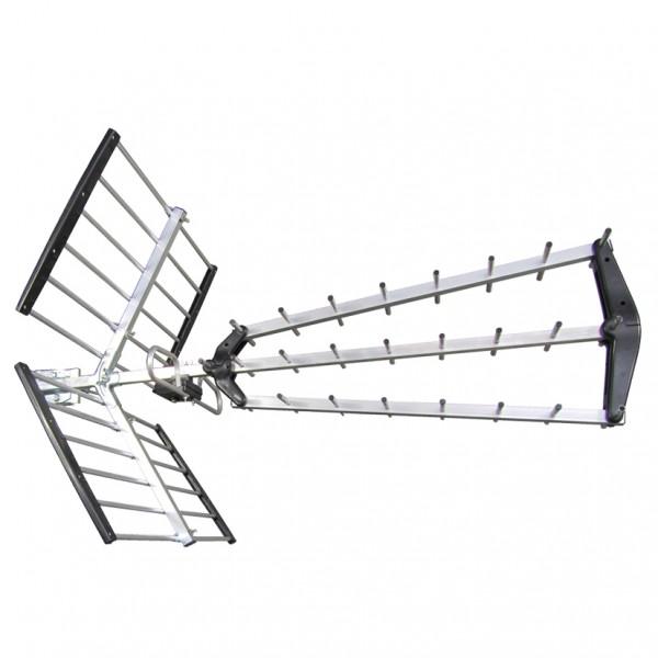 Antena Digital UHF TV triple plegable CH/21-49 ganancia 16,5dB LTE700/5G