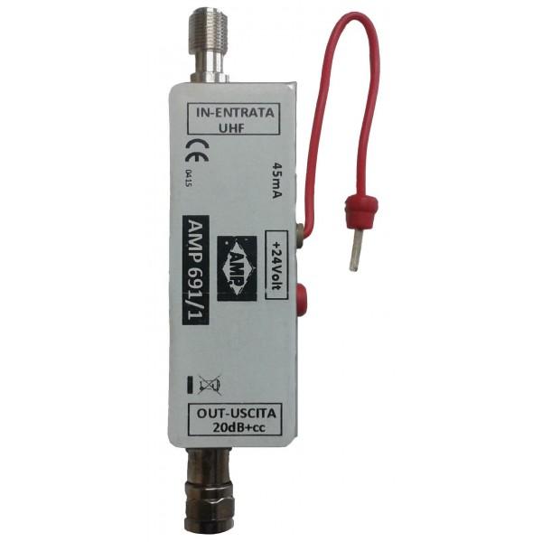 AMP691/1 Previo enchufable UHF 18dB 24Vcc
