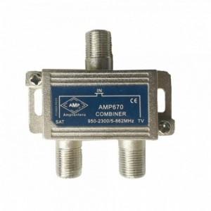 AMP670 Mixer 2 inputs 1TV Terrestrial (5-862MHz) + 1SAT (5-2500MHz)