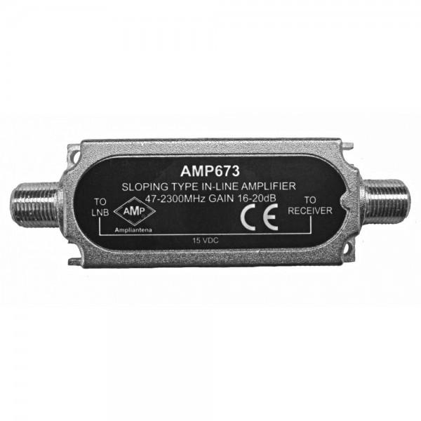 AMP673 Amplificador de línea enchufable F/F 47-862/950-2150MHz 16/20dB