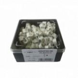 AMP693 Grapa blanca abierta clavo acero N6 (Caja plástica 100 ud)