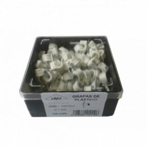 AMP694 Grapa blanca abierta clavo acero N7 (Caja plástica 100 ud)