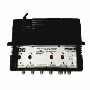 """AMP402 Central blindada cubierta ABS 4 Entradas/ 30dB (BI+FM/BIII+DAB/2 UHF) 118dBuV """"LTE"""""""