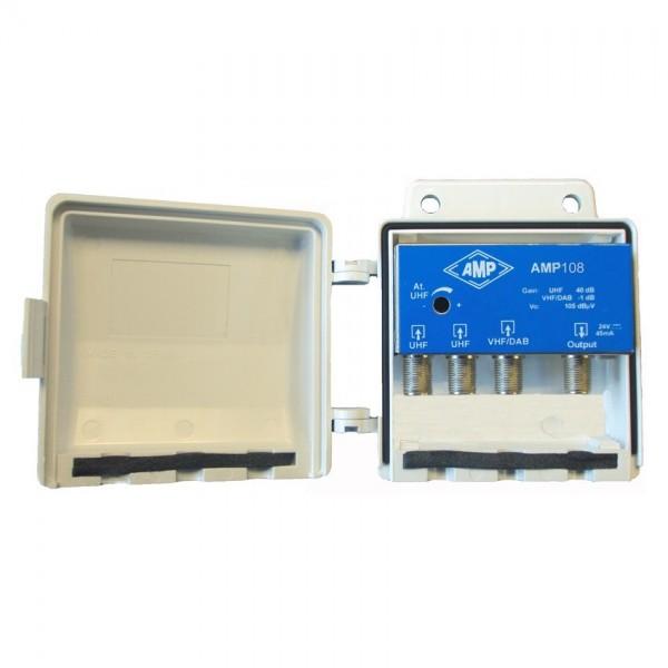 AMP108 Amplificador 3 entradas 1 VHF 26 dB y 2 UHF 30 dB