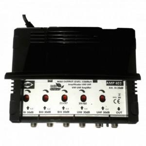 """AMP403 Central blindada cubierta ABS 5 Entradas/ 30dB (BI+FM/BIII+DAB/2 UHF) 118dBuV """"LTE"""""""