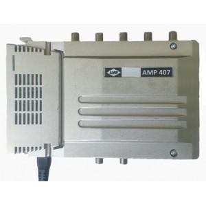 """AMP407 Central blindada cubierta zamak 5 Entradas/40dB (BI+FM/BIII+DAB/BIV/BV/UHF) 128dBuV """"LTE"""""""