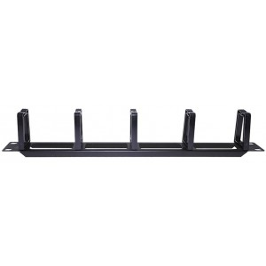 "AMP630 19"" 1U metal cable management bar with 5 plastic rings"