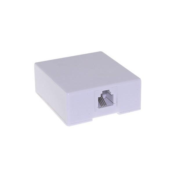 AMP700 Roseta telefónica 50x56x24mm RJ11 6p4c salida inferior, blanca