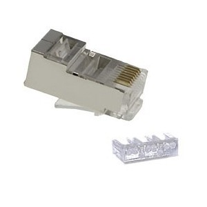 """AMP736 Conector RJ45 macho Cat.6 3p 8p8c 6u"""" apantallado + con guía de hilos"""